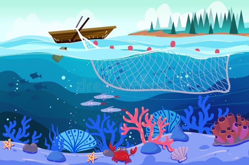 Vectorzeegezicht - houten boot met netto, een visserij, een hemel en onderwater het overzees leven met een school van vissen en k vector illustratie
