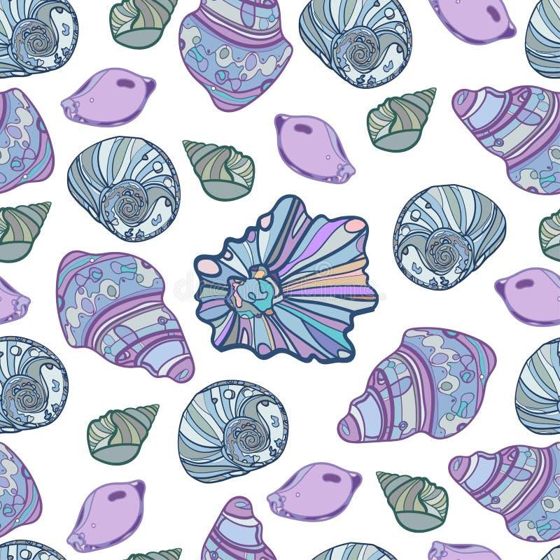 Vectorzeeschelpen naadloos patroon Op een wit ge?soleerde achtergrond royalty-vrije illustratie
