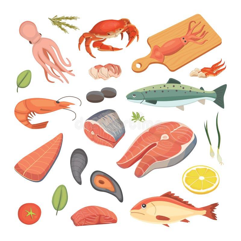 Vectorzeevruchtenillustraties geplaatst vlakke verse vissen en krab Zeekreeft en oester, garnalen en menu, octopusdier royalty-vrije illustratie