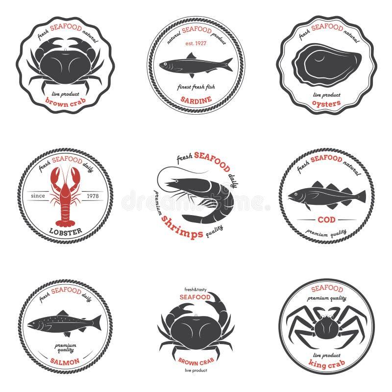 Vectorzeevruchtensilhouetten, etiketten, emblemen Reeks malplaatjes royalty-vrije illustratie