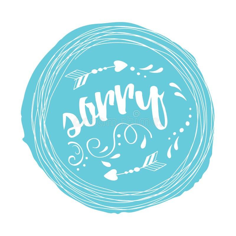 Vectorzegel met uitdrukkings droevig verfraaid abstract wit bloemenornament op blauwe vlek stock illustratie