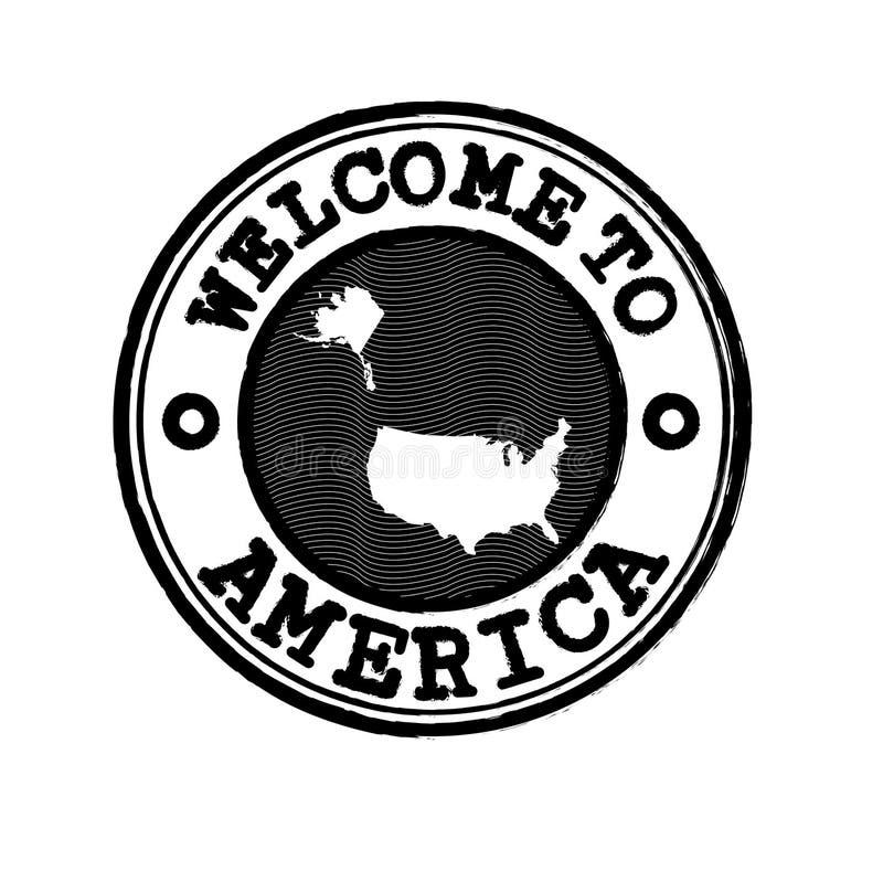 Vectorzegel van onthaal aan Amerika met het overzicht van de natiekaart in het centrum stock illustratie