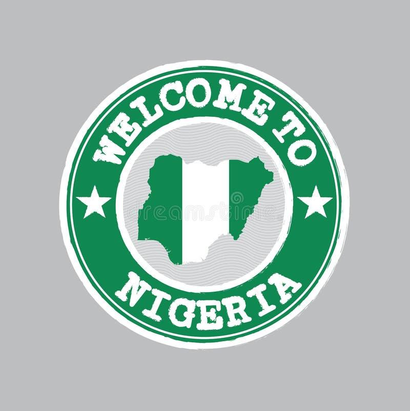 Vectorzegel van onthaal aan Nigeria met natievlag op kaartoverzicht in het centrum vector illustratie
