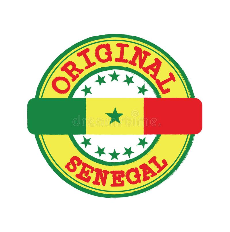 Vectorzegel van Origineel embleem met tekst Senegal en het Vastbinden van het midden met natievlag vector illustratie