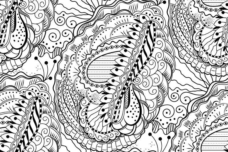 Vectorzentangle naadloos patroon met golvende krullende lijnen stock illustratie