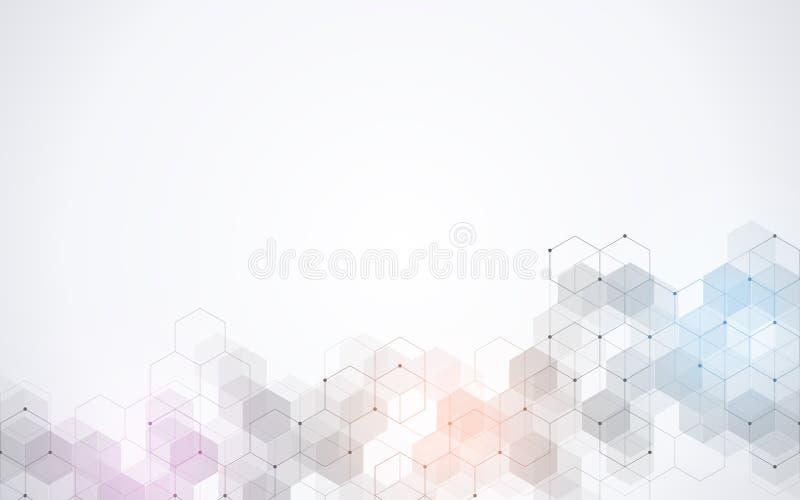 Vectorzeshoekenpatroon Geometrische abstracte achtergrond met eenvoudige hexagonale elementen Medisch, technologie of wetenschaps royalty-vrije illustratie