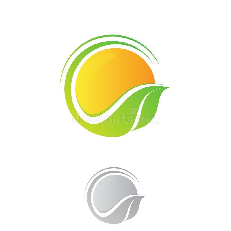 Vectorzon met de ronde groene symbolen van de de zomerecologie van de bladlente stock illustratie