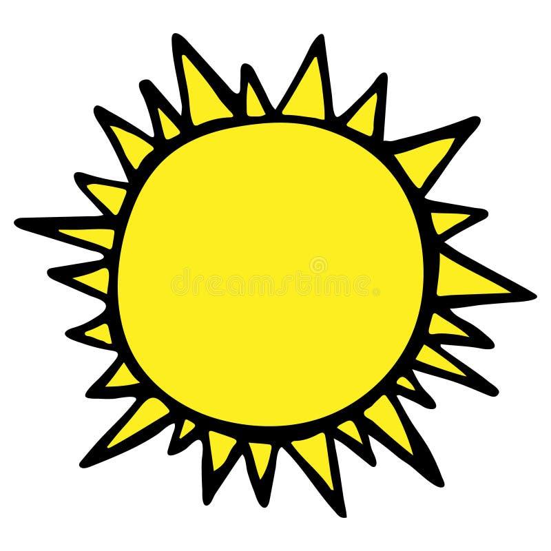 Vectorzonillustratie, creatief geel pictogram voor warm of heet weerontwerp, heldere sunburs vector illustratie