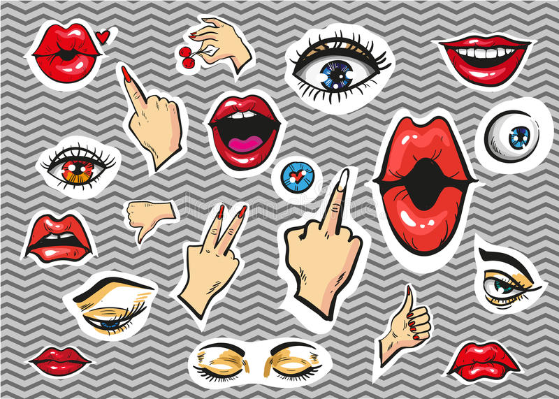 Vectpr fashion stickers eyes, lips and hands royalty free illustration