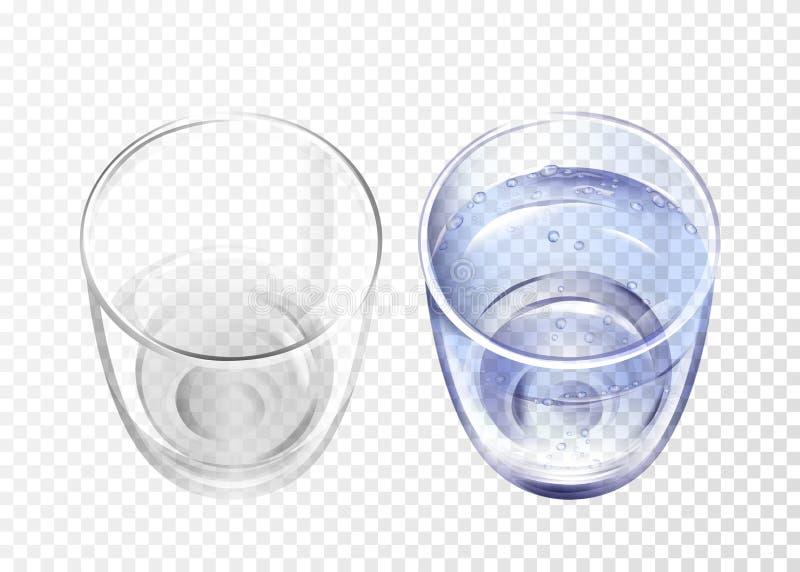 Vectpr realistische leeg, glas met de reeks van de waterkop royalty-vrije illustratie
