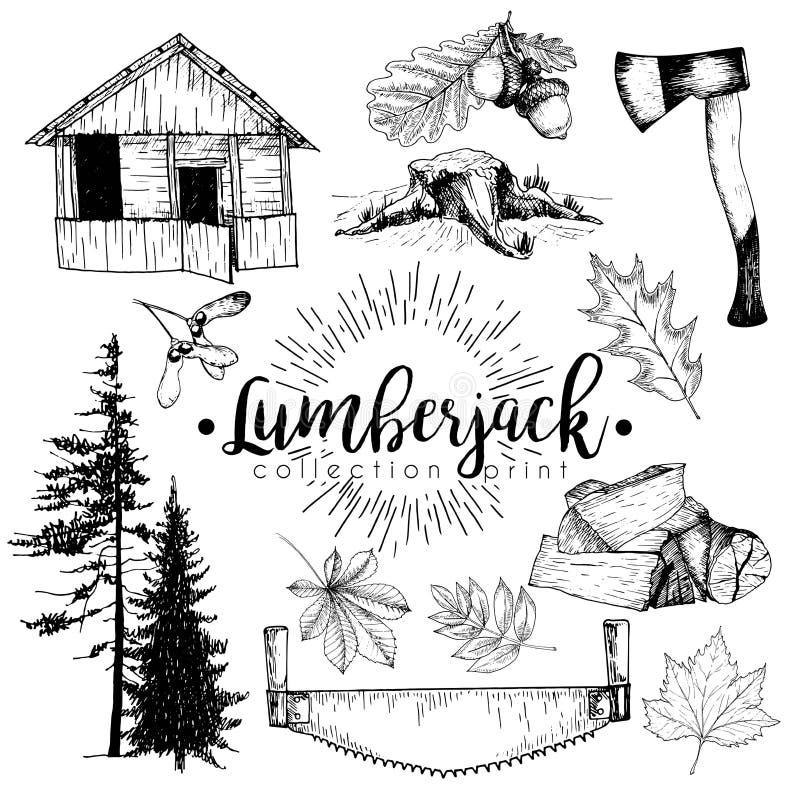 Vectroreeks van de inzameling van de houtdruk Comfortabele cabine, zegel, bijl, pijnboombomen, firewoods, zaag, bladeren en eikel royalty-vrije illustratie