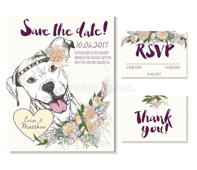 Vedding kortuppsättning i moderiktig bohostil Pitbull hund som bär blommakrona- och hjärtacoulomben royaltyfri illustrationer