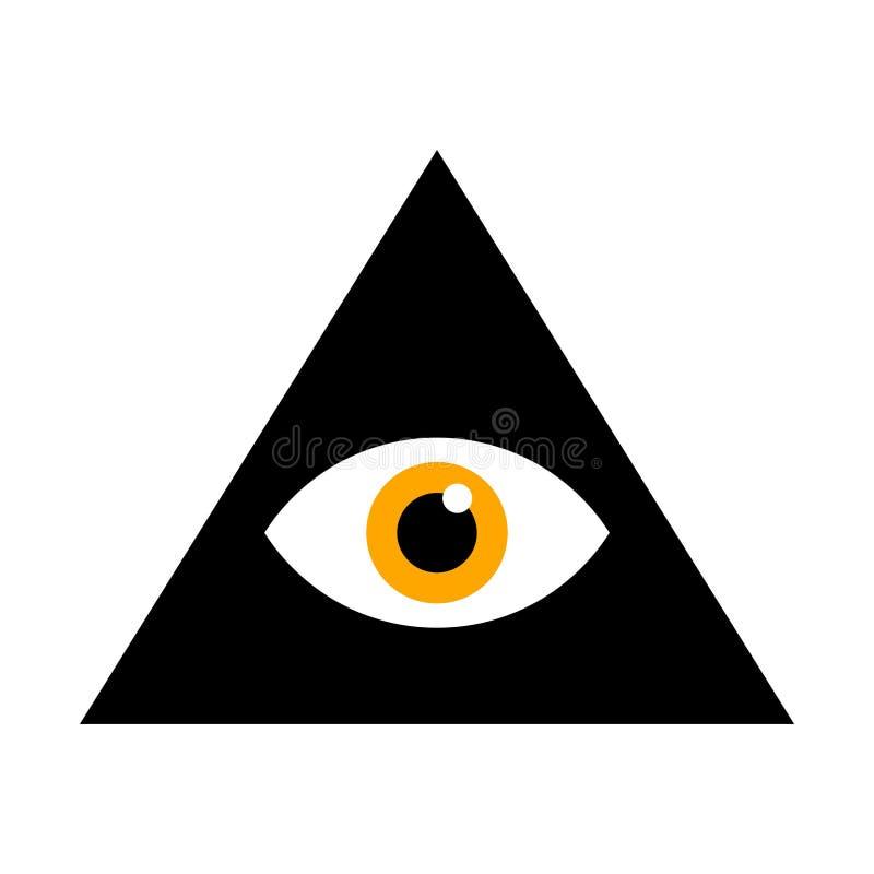Vedere occhio Tutto l'occhio vedente dentro la piramide del triangolo Illustrazione di vettore Simbolo massonico illustrazione di stock