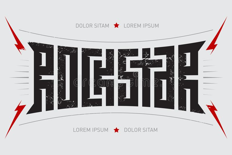 Vedette du rock - conception de T-shirt Rockstar - affiche de musique avec le lig rouge illustration stock