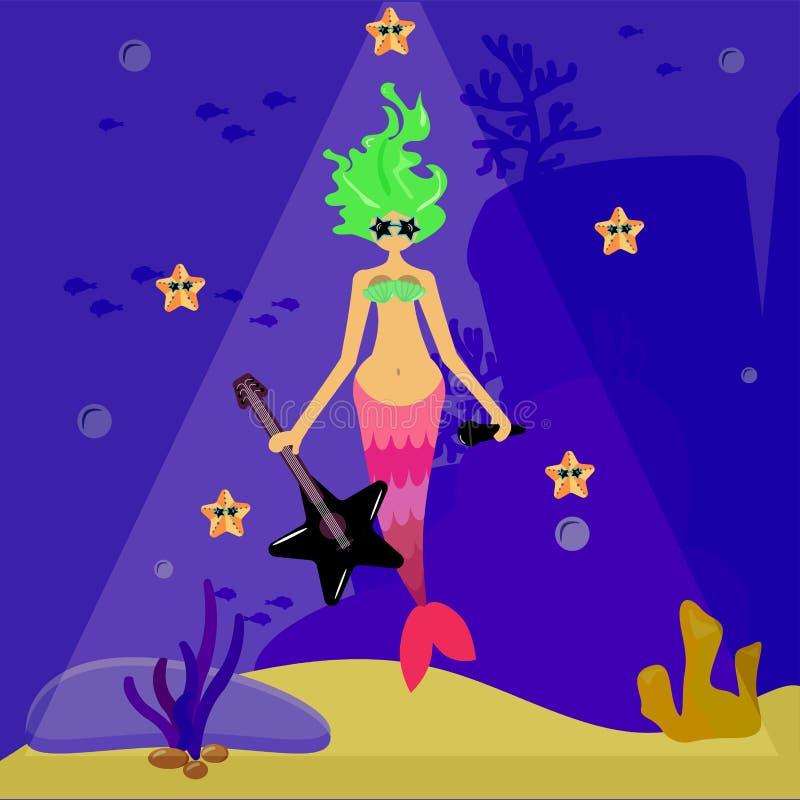 Vedette du rock de sirène Une fille avec une sirène aux cheveux verts dans des lunettes de soleil tient une guitare Paysage de fo illustration libre de droits