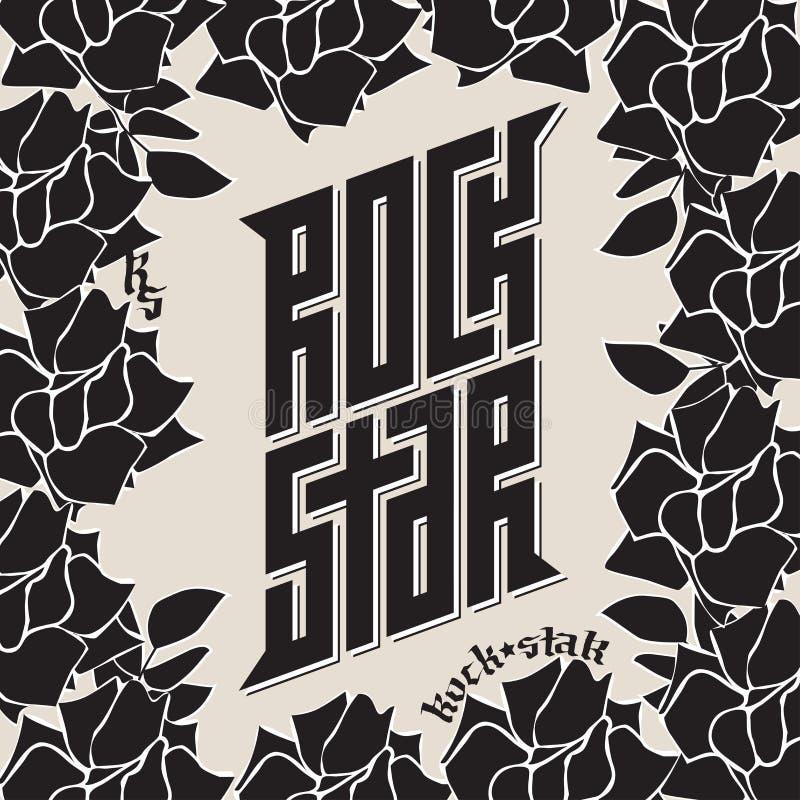 Vedette du rock - tatouage Affiche de musique ou label de bande Rockstar - t-shi illustration de vecteur