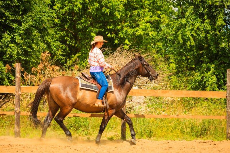 Veedrijfster die paardrijden op plattelandsweide doen stock foto