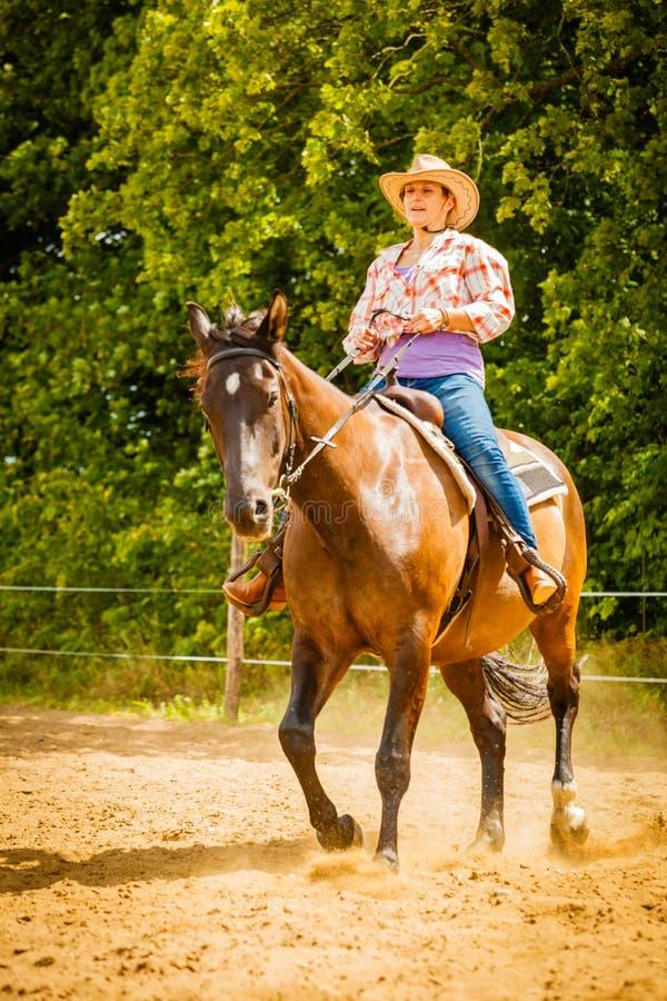 Veedrijfster die paardrijden op plattelandsweide doen royalty-vrije stock foto