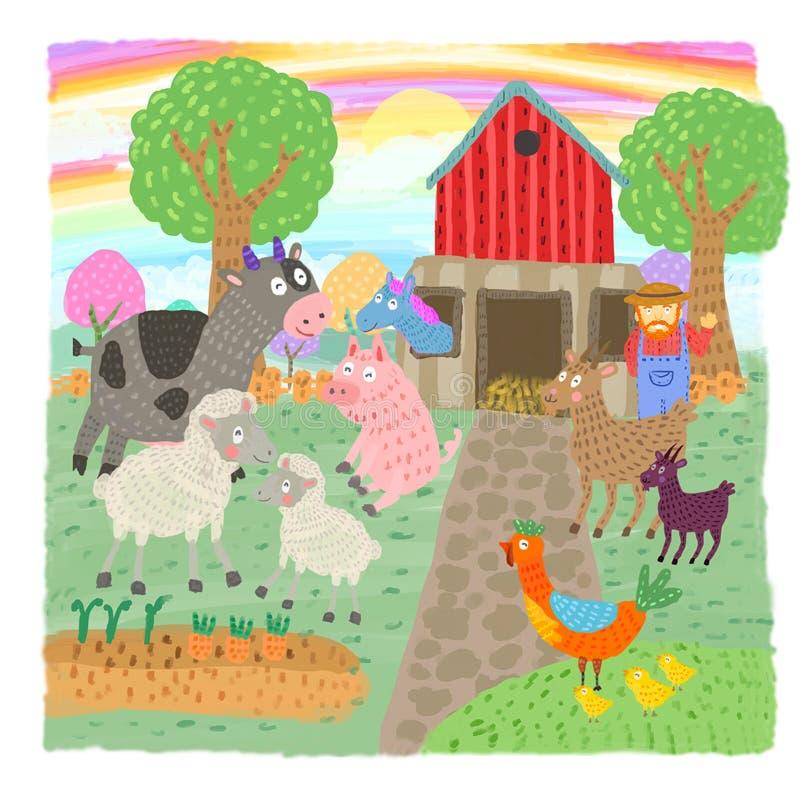 Veel dieren en pret groen landbouwbedrijf vector illustratie