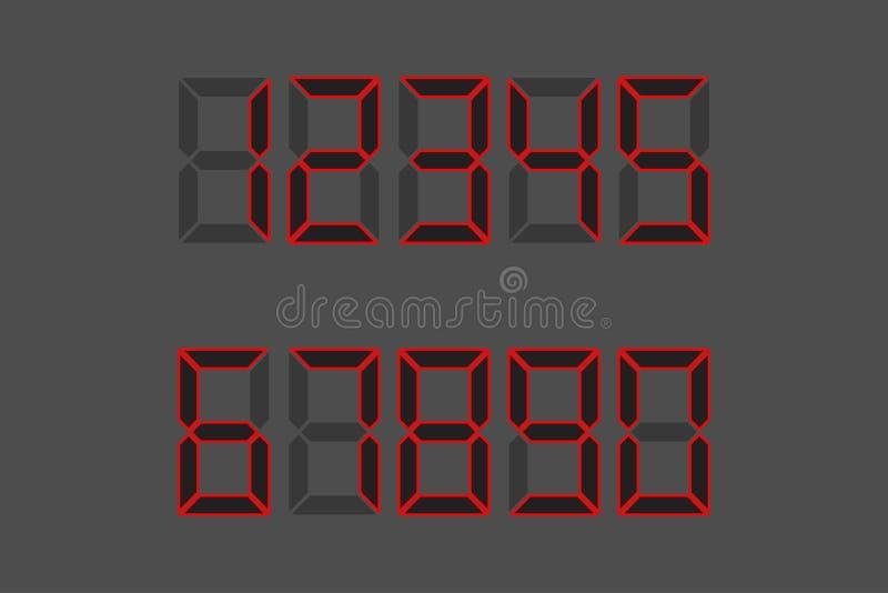 Veel functionaliteit Zwarte aantallen - 1, 2, 3, 4, 5, 6, 7, 8, 9, 0 De wijzerplaat, de calculator China Vector illustratie Grijz stock illustratie