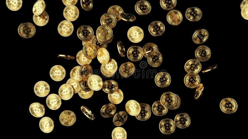 Veel gouden bitcoins 3d illustratie stock illustratie