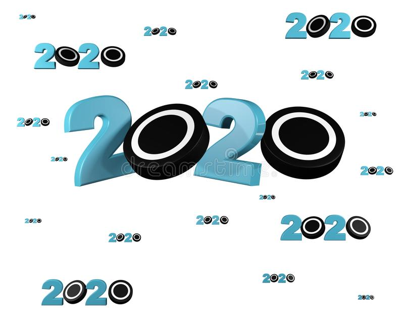 Veel Ijshockey 2020 Ontwerpen met vele Pucks royalty-vrije illustratie
