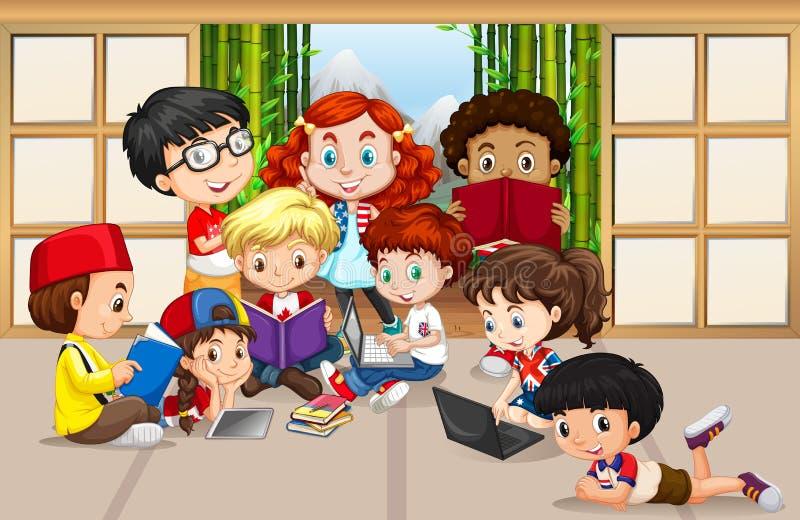 Veel kinderen die en aan computer lezen werken stock illustratie