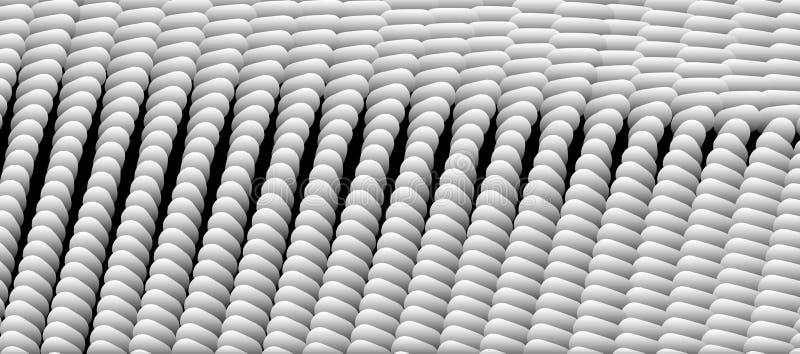 Veel kleine ellips Abstract achtergrond met witte capsules 3d vectorillustratie stock illustratie