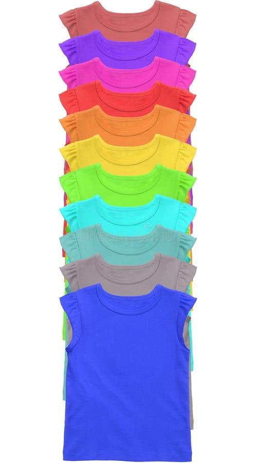 Veel Kleurrijke die T-shirts op wit worden geïsoleerd stock foto's