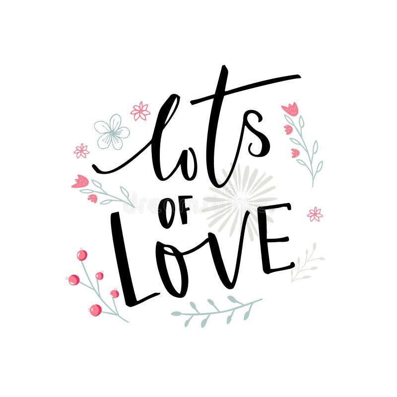 Veel liefde zwarte typografie met roze en blauwe bloemen Het ontwerp van de de Dagkaart van Valentine ` s vector illustratie