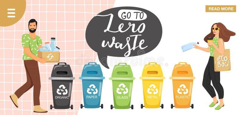Veel meer ecologiebeelden in mijn portefeuille Mensen die huisvuil sorteren in containers voor recycling Het ontwerpmalplaatje va vector illustratie