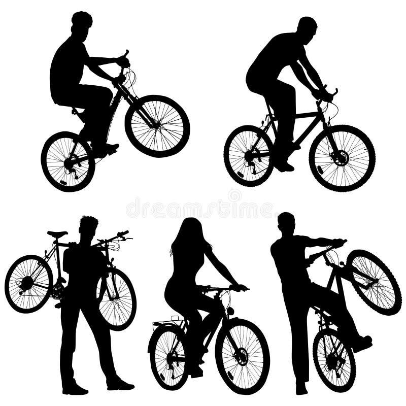 Veel mensen, fietsen, reeks royalty-vrije illustratie