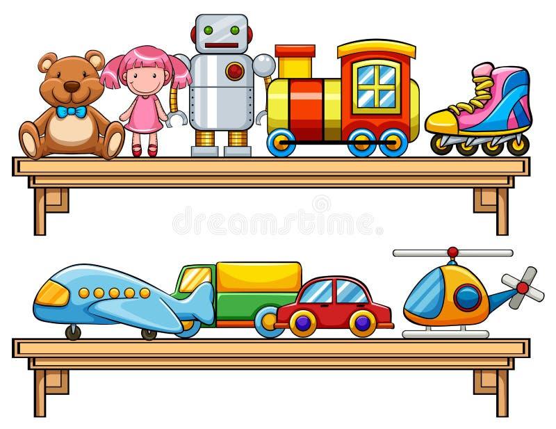 Veel speelgoed op de planken stock illustratie