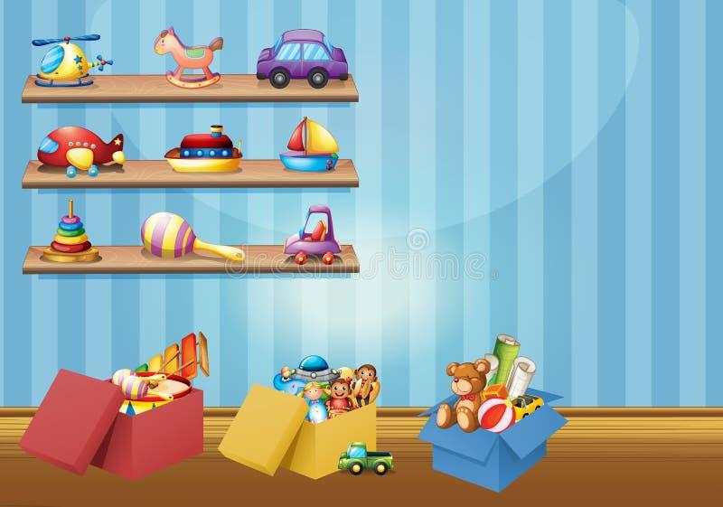 Veel speelgoed op de planken en de vloer vector illustratie