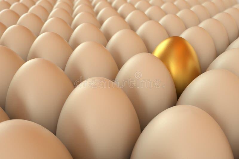 Veel teruggegeven eieren een gouden één Gouden ei over groene gradiëntachtergrond 3d teruggevende illustratie royalty-vrije illustratie