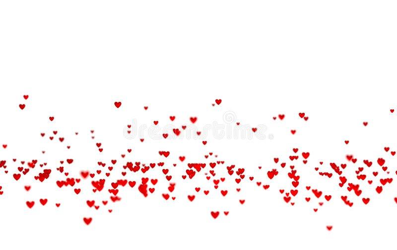 Veel Uiterst kleine Rode Harten in neer met een Defocus-Effect vector illustratie