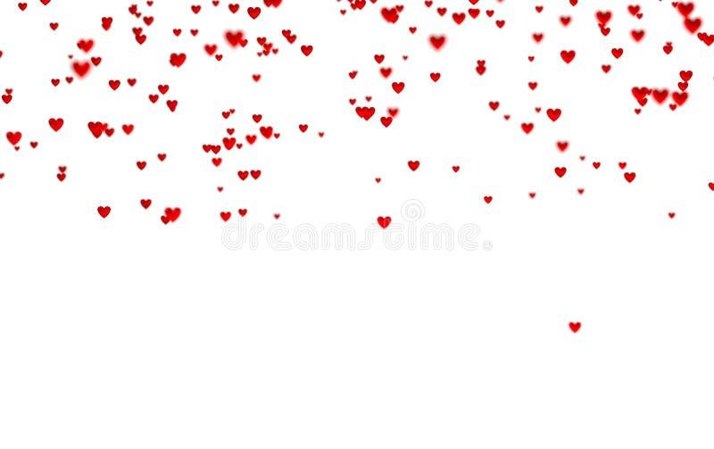 Veel Uiterst kleine Rode Harten in omhoog met een Defocus-Effect royalty-vrije illustratie