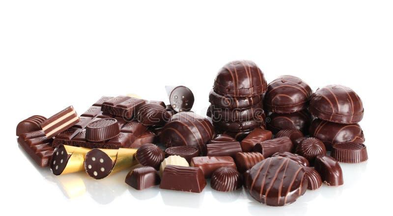 Veel verschillend chocoladesuikergoed royalty-vrije stock fotografie