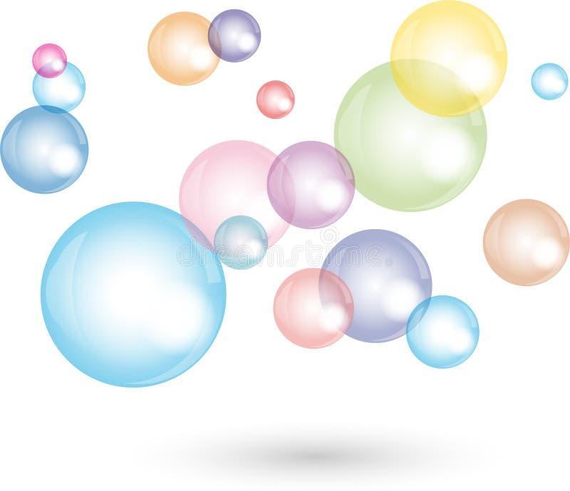 Veel zeepbels, het schoonmaken en schoonmakend bedrijfembleem stock illustratie