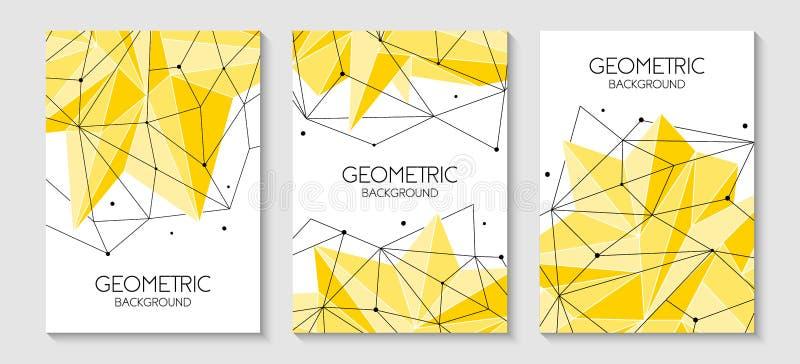 Veelhoekig abstract futuristisch geel malplaatje, laag polyteken Vectorlijnen, punten en driehoeksvormen, verbindend netwerk royalty-vrije illustratie