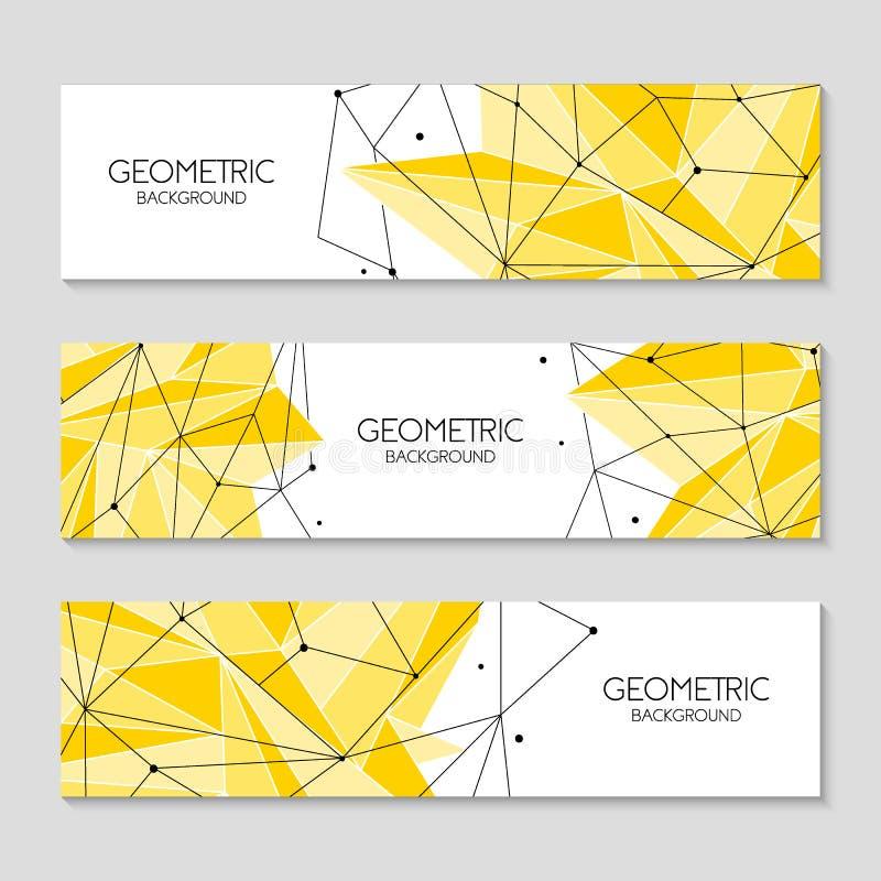 Veelhoekig abstract futuristisch geel malplaatje, laag polyteken Vectorlijnen, punten en driehoeksvormen, verbindend netwerk stock illustratie