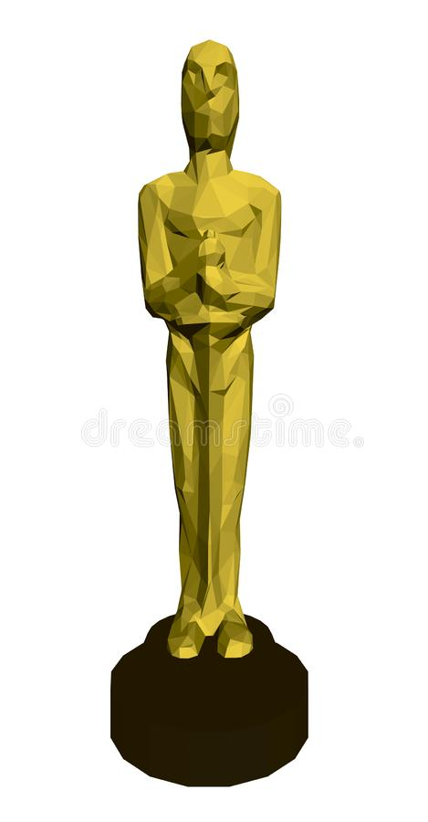 Veelhoekig beeldje Oscar 3d Front View Vector illustratie vector illustratie