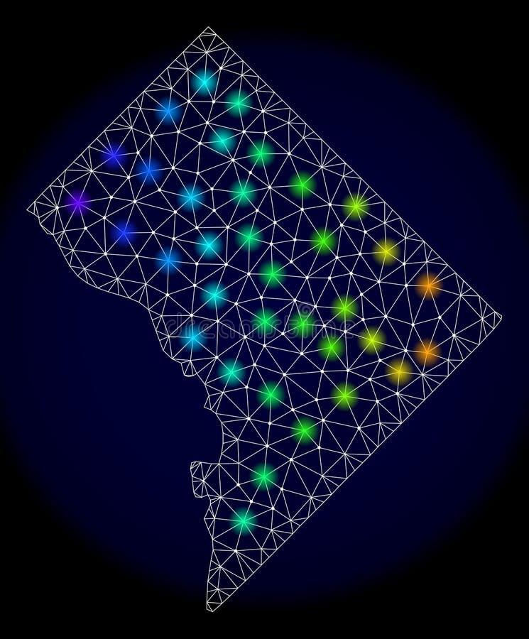Veelhoekig 2D Mesh Map van Washington District Columbia met Kleurrijke Lichte Vlekken stock illustratie