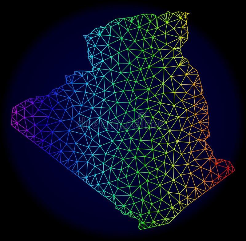 Veelhoekig 2D Spectrum Mesh Vector Map van Algerije royalty-vrije illustratie
