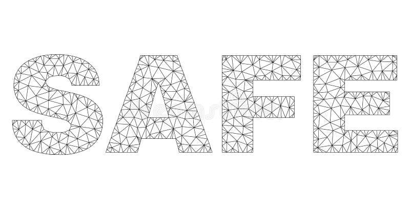 Veelhoekig 2D VEILIG Tekstlabel stock illustratie