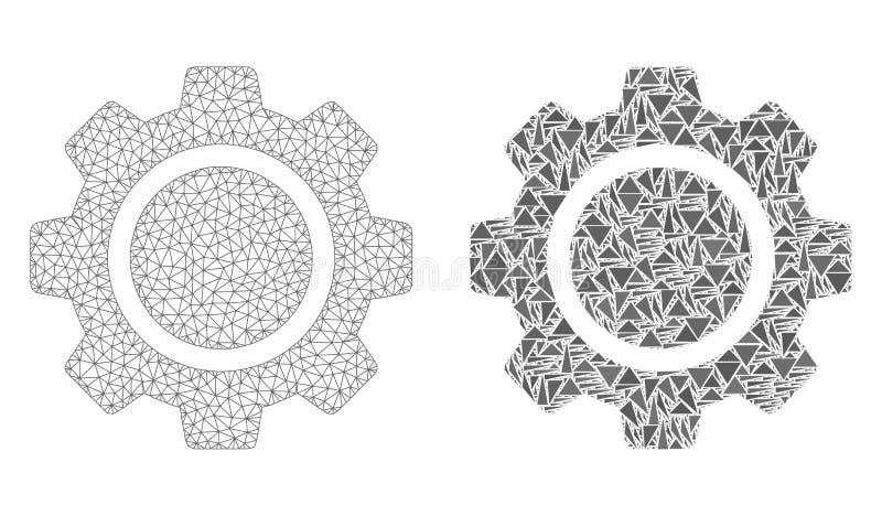 Veelhoekig Draadkader Mesh Cog Wheel en Mozaïekpictogram stock illustratie