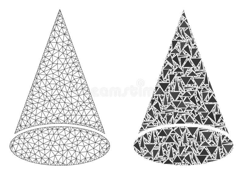 Veelhoekig Draadkader Mesh Cone Figure en Mozaïekpictogram royalty-vrije illustratie