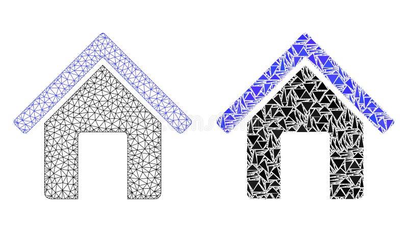 Veelhoekig Draadkader Mesh Home en Mozaïekpictogram vector illustratie