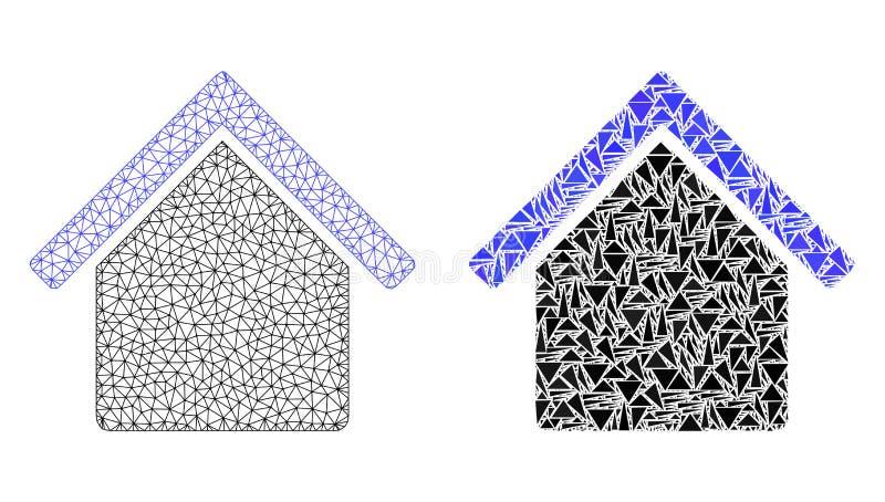 Veelhoekig Draadkader Mesh House en Mozaïekpictogram vector illustratie