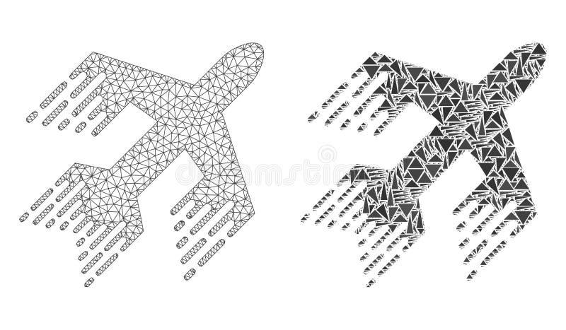 Veelhoekig Draadkader Mesh Jet Plane en Mozaïekpictogram stock illustratie